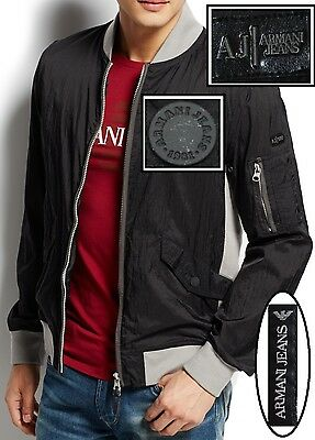 NWT Armani Jeans Slim Fit 2-way Front Zip Lightweight Contrast Bomber Jacket