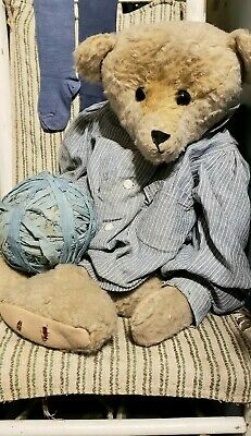 Primitive Early Handmade Bear with Antique Blue Ticking