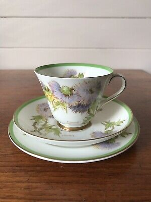 """Vintage Royal Doulton """"Glamis Thistle"""" Tea Trio Cup Plate and Saucer Signed Mint"""