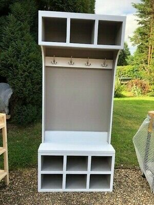 BESPOKE H195 W90 D32cm HALL COAT STAND UNIT BASKETS SHOES