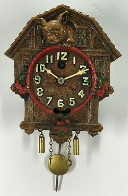 Lux Keebler Animated See Saw Bulldog and Kittens Pendulette Clock With Stand