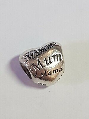 Authentic Genuine Silver Mother's Heart Charm - 791112 languages for mum
