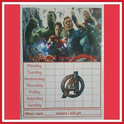 🎀 Children's Behaviour Chart - Reward / star Avengers Chart. FULLY RE-USABLE🎀