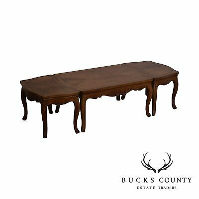 Baker Vintage French Louis XV Style Walnut 3pc Coffee Table