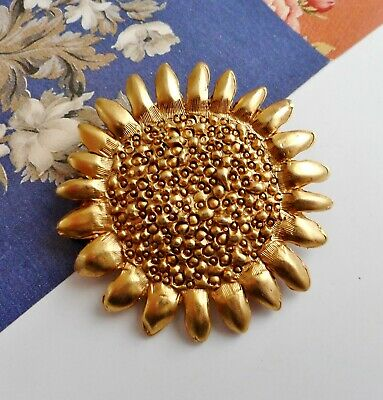 Vintage Gold Tone Metal Sunflower Brooch - Buy 4 Items for Free Post