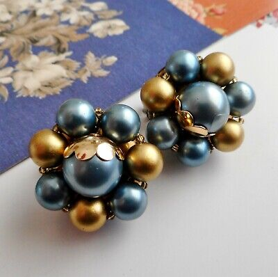 Vintage 50's / 60's Faux Pearl Cluster Clip On Earrings - Gold & Blue