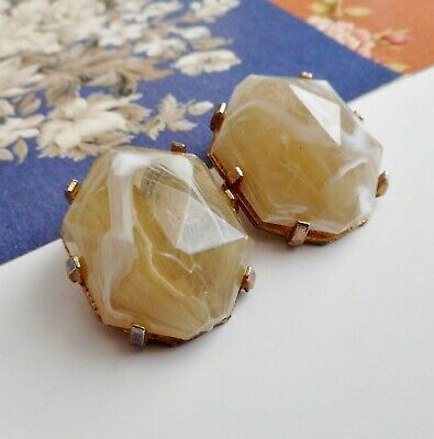 Vintage 50's / 60's Clip On Earrings - Marbled Faceted Cut Lucite Pieces
