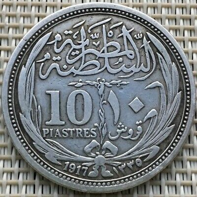 1917,Old Egyptian Silver,Islamic Coin,Hussien Kamil,10 Piastres,Qirsh,Egypt Coin
