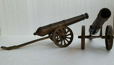 Vintage Pair Brass Cannons in Carts Ornaments