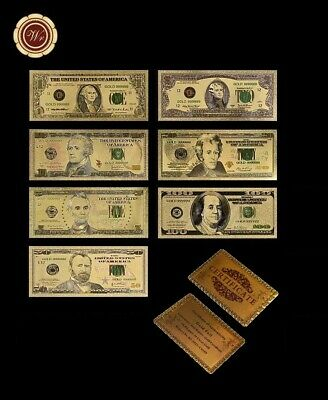 Lote Billetes Oro Dollar 99,9% Pure Gold 24K + Certificado De Autenticidad Gold