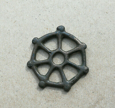"""Ancient Viking Bronze Large pendant AMULET """" WHEEL OF FORTUNE """" GREAT SAVE RARE!"""