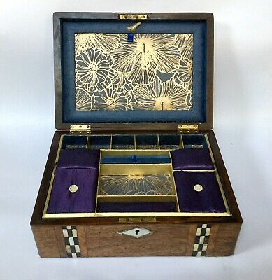 Antique Wooden Sewing Box MOP and Abalone Inlay Refurbished