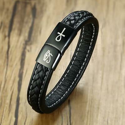 Mens Ankh Eye Cross Leather Bracelet