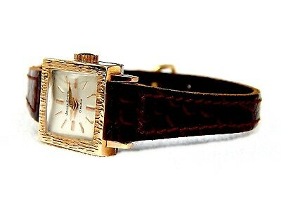 Vintage Watch Jaeger-LeCoultre Art Deco 1930c Square Case Gold Plated Lady