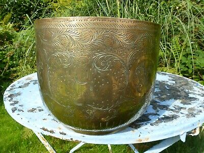 Vintage brass Tub Planter Plant Pot brass ornate garden window box kitchen