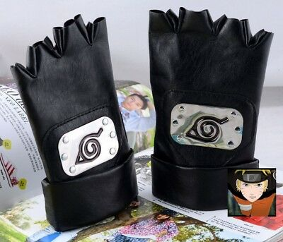 Naruto Ninja Kakashi Konoha Half Finger Leather Gloves Anime Cosplay Props