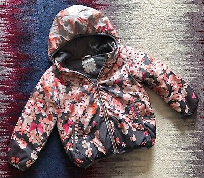 Next Girls Age 3-4 Years Autumn Winter Jacket Grey Floral Pattern With Defects