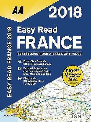 AA Easy Read Atlas France: 2018 by AA Publishing (Paperback, 2017)like New