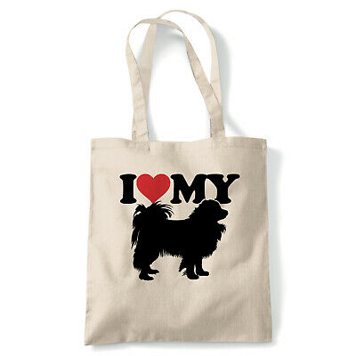 I Love My Papillon Tote - Reusable Shopping Canvas Bag Gift