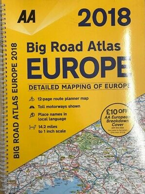AA 2018 Big Road Atlas Europe Detailed Maps