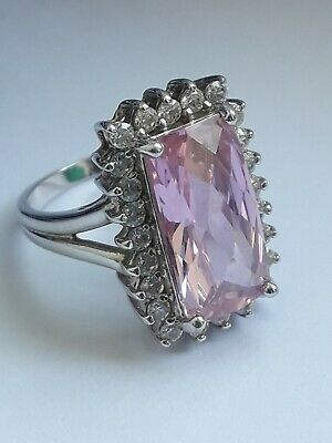 Sterling Silver Pink DQCZ Art Deco Style Cocktail Ring. (Sz N) 6.1g!