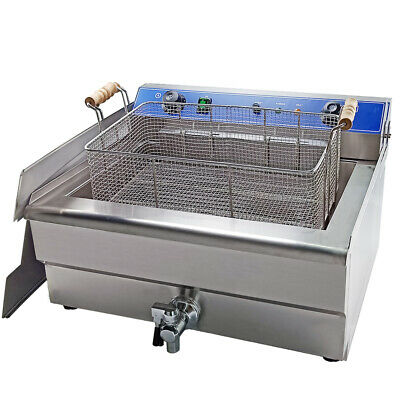 30L Commercial Electric Deep Fryer Stainless Steel  Large Tank Fat Chip Fryer