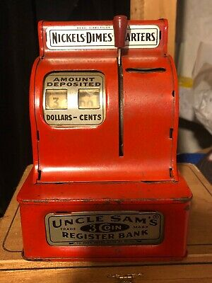Vintage Red Uncle Sam's Trademark 3 Coin Register Bank Western Stamping Corp.