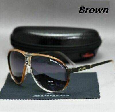 2020 New Men's Sunglasses Women's Unisex Retro Carrera Glasses Brown+Box C-01