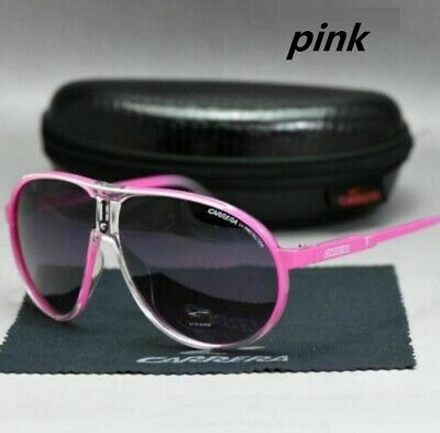 2020 New Men's Sunglasses Women's Unisex Retro Carrera Glasses pink+Box C-01