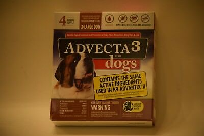 Advecta 3 Flea & Tick Control for XL Dogs, over 55 lbs, 4 Treatments NEW SEALED