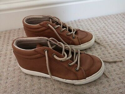 Marks And Spencer (M&S) , Boys Size 2 Brown (Tan) Trainers, Leather, VGC, laced
