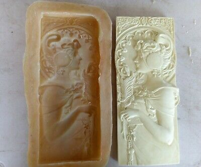 New Latex Mould Art Deco lady plaque  23 x10 cm