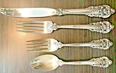 WALLACE 4 PC GRANDE BAROQUE PLACE SETTING STERLING SILVER Heavy vintage 1987