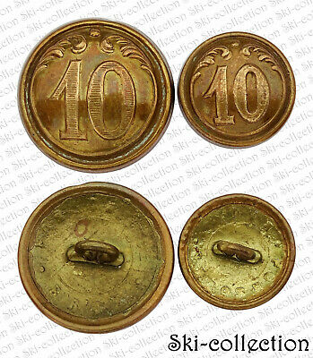 2 Buttons 10°Regiment Infantry line Belgian. To the 1900. Fisher. 24/0 23/32in