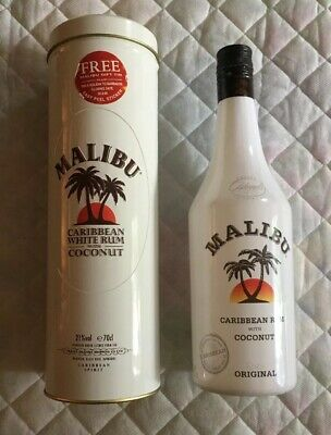 Vintage Malibu Coconut Rum Metal Cylinder Gift Box & Bottle from Late 1990s