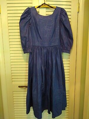 Laura Ashley Vintage Jewel Neck Cotton Dress US12 UK14 Sapphire Blue Elegant