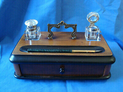 Fine Antique Walnut Ebonised Pen Box with Draw Ink Wells  Desk Top Accessories