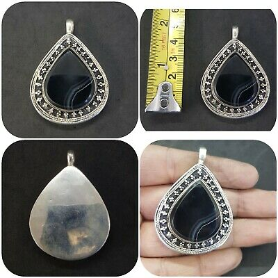 Afghani Silver Plated Pendent With Natural Black Agate Beautiful Stone #W2
