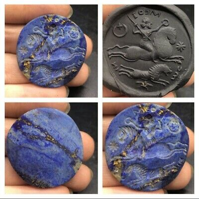 Wonderfull Very Old Lapiz Lazuli Stone King Hunting Deer History Intaglio Seal
