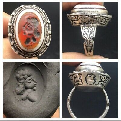 Wonderfull Old Antique Roman Queen intaglio Agte Stone Sloid Sliver Nice Craved
