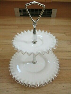 Vtg 1950s Two Tiered Glass Candy Appet. Dish Scalloped Edges Chrome Handle MINT