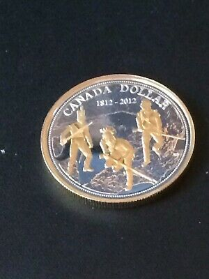 2012 Canada SE War of 1812 silver dollar gold plated