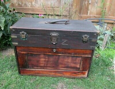 Large Size Rare Antique Wooden CORBIN Machinist Jeweler Tool Chest 13 Drawer