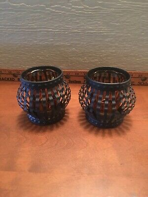 Vintage Pair Cast Iron Hand Forged Votive Candle Holders,1960's Wrought Iron