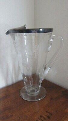 VINTAGE ~ Etched GLASS PITCHER, DECANTER w/ STERLING COLLAR SPOUT & HALLMARKED ~