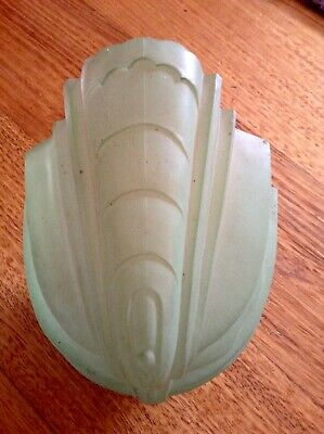 Vintage Art Deco Green Glass Light Slip Shade. Retro 1920's to 1930's