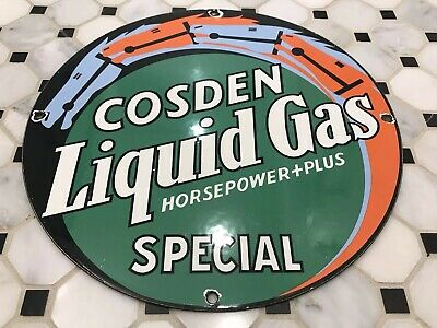 Vintage Cosden Liquid Gas Porcelain Sign Pump Plate Gasoline Oil Service Station