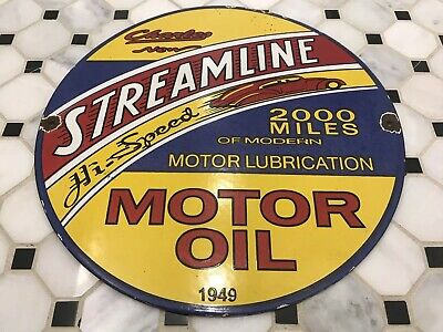 Vintage Streamline Motor Oil Porcelain Sign Gas Station Pump Plate Gasoline Auto