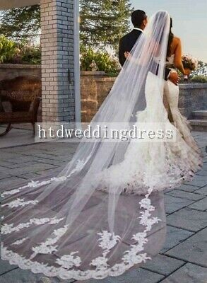 3 Meters White Ivory 1 Tier Wedding Cathedral Length Lace Applique Bridal Veil