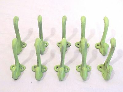 10 Cast Iron Wall Mount Coat Hat Hook Farm Craft Rack Closet Hallway Turquoise